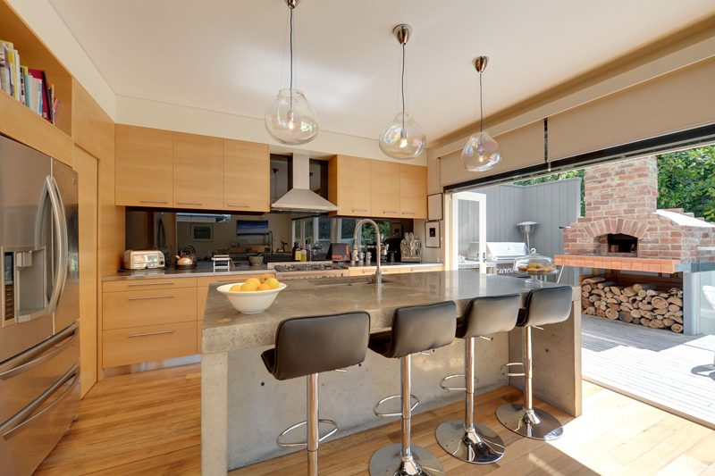 Open plan timber kitchen with feature island.